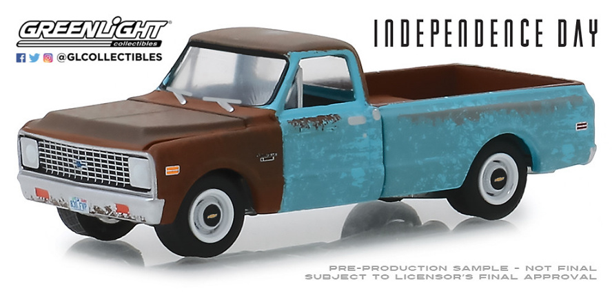 """1971 CHEVROLET c-10 /""""Independence Day/"""" 1996 film *** Greenlight 1:64 NUOVO"""