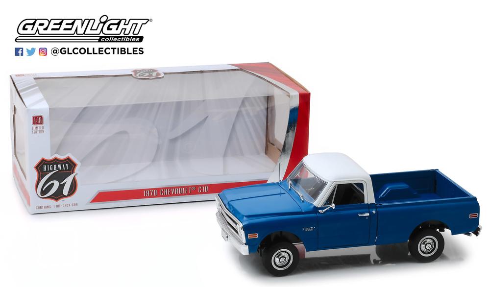 Chevrolet C-10 azul con techo blanco Highway 61 (1970) Greenlight HWY18011 1/18