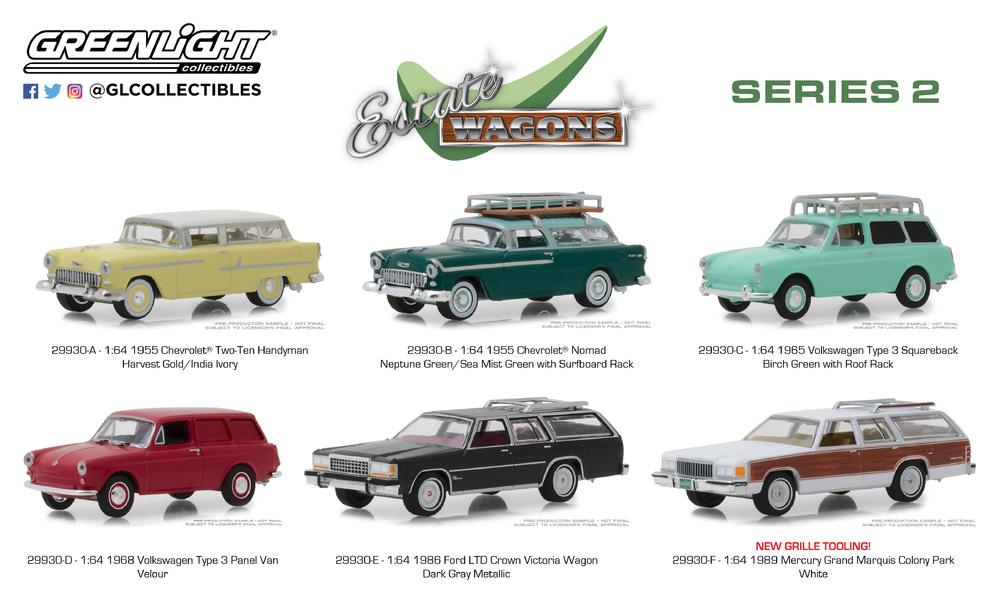 Greenlight Estate Wagon 1955 Chevrolet Two-Ten Handyman Yellow 1:64 Series 2