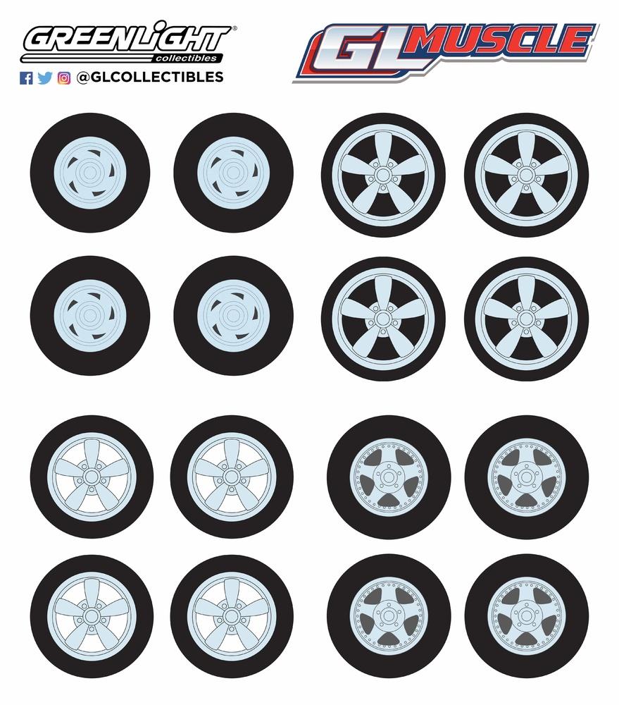 Conjunto de neumáticos GL Muscle con llanta Greenlight 13164 1/64