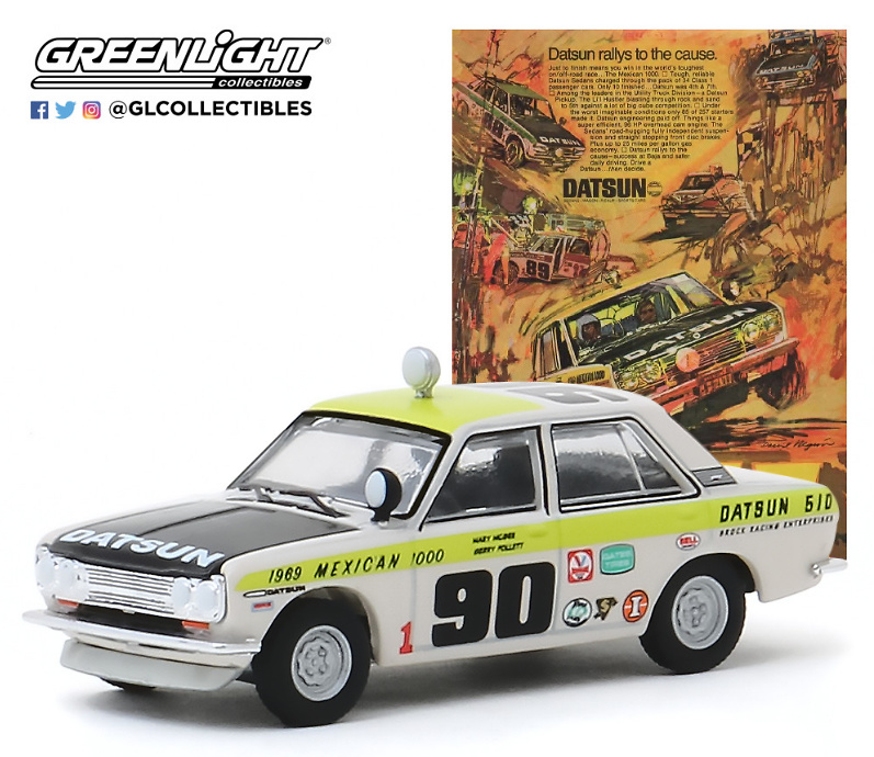 "Datsun 510 Sedán #90 (1969) México 1000 ""Datsun Rallys To The Cause"" Greenlight 1/64"