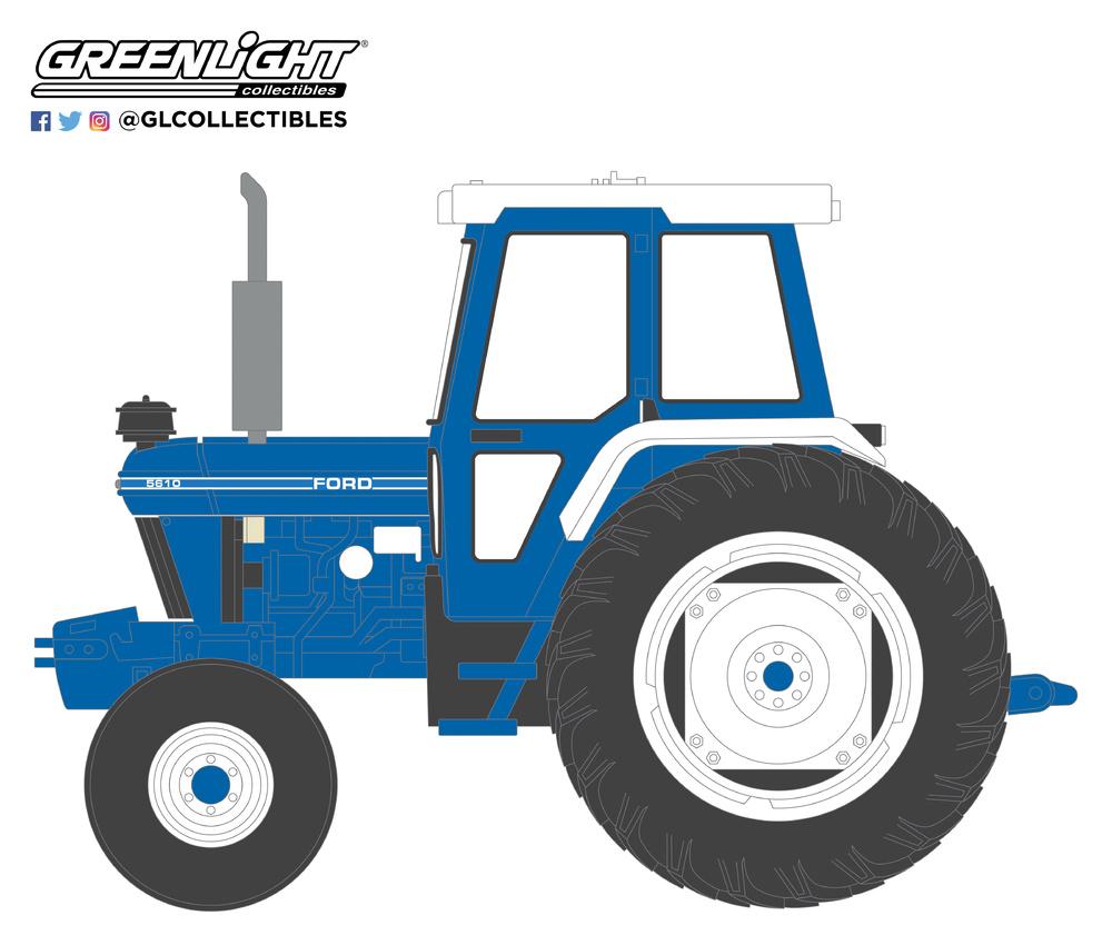 Ford 5610 Tractor con Cabina cerrada (1984) Greenlight 48020C 1/64