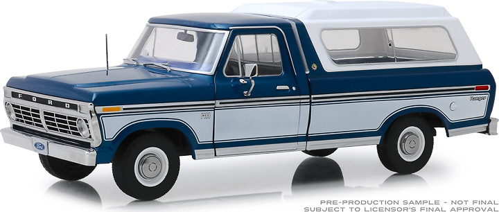 Ford F-100 Azul medianoche con caja trasera blanca (1975) Greenlight 1/18