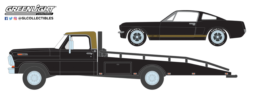 Ford F-350 Plataforma (1968) con Shelby Mustang GT350H (1966) Greenlight 33130A 1/64