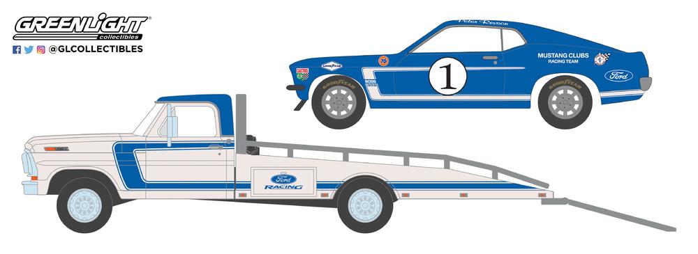 Ford F-350 Plataforma con Ford Mustang Boss 302 nº 1 Mustang Racing Club (1969) Greenlight 33150A 1/64