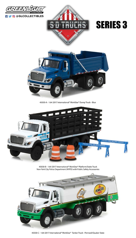 1/64 2017 International WorkStar Platform Stake Truck - New York City Police Department (NYPD) with Public Safety Greenlight 45030B