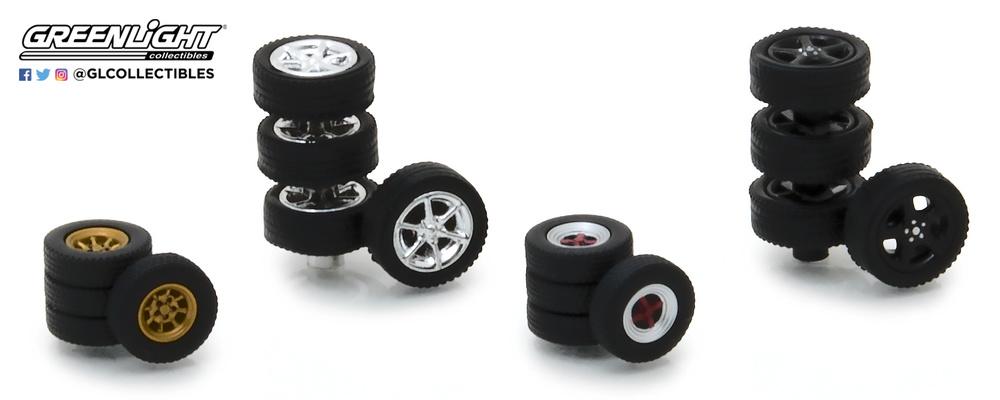 neumáticos Tokio Torque con llanta Greenlight 13163 escala 1/64