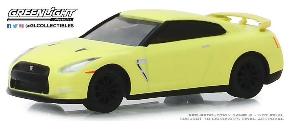 Nissan GT-R (R35) - Amarillo neón (2016) Greenlight 1/64