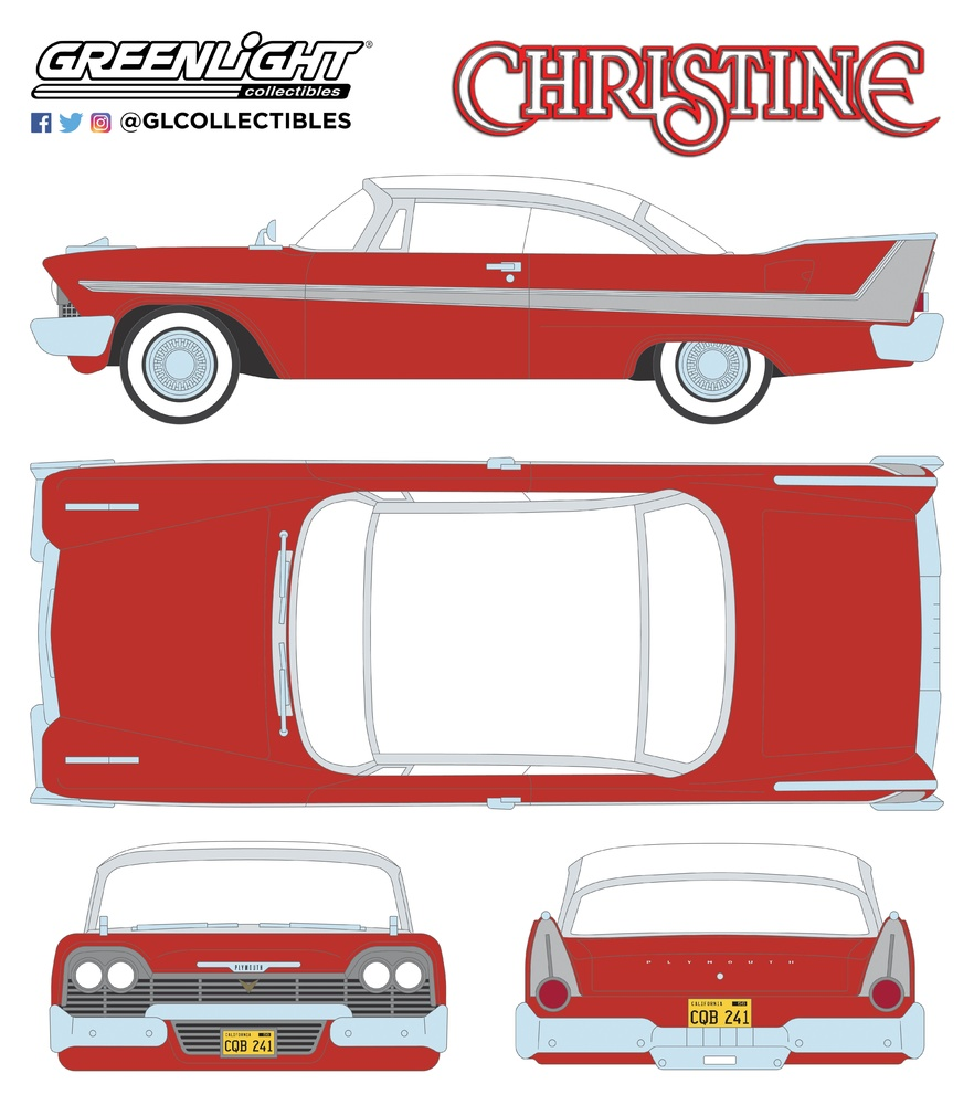 1958-86529GR GREENLIGHT COLLECTIBLES 1//43 PLYMOUTH FURY CHRISTINE