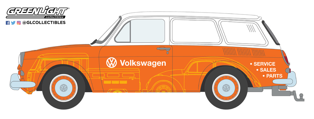 Volkswagen Tipo 3 Furgoneta - Volkswagen Sales and Service (1966) Greenlight 35120C 1/64