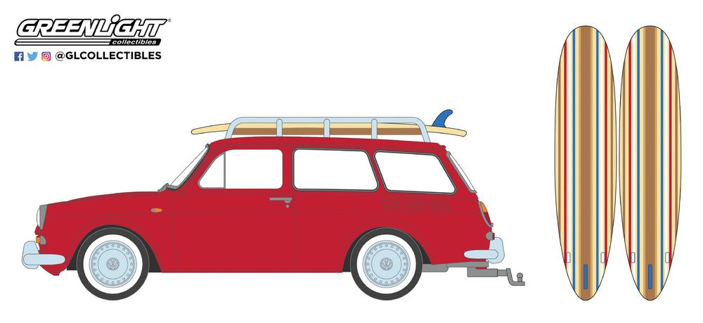 Volkswagen Type 3 familiar con tablas de surf (1962) Greenlight 97050A 1/64