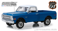 Chevrolet C-10 with lift kit dark blue poly Highway 61 (1970) Greenlight 1:18