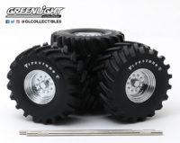 "Conjunto de ruedas y neumáticos 48"" ""Firestone Kings of Crunch"" Greenlight 1/18"