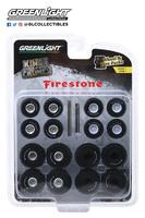 """Conjunto de ruedas y neumáticos """"Firestone Kings of Crunch"""" Greenlight 1/64"""