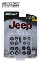"""Conjunto de ruedas y neumáticos """"Jeep"""" Greenlight 1/64"""