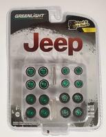 """Conjunto de ruedas y neumáticos """"Jeep"""" Greenmachine 1/64"""