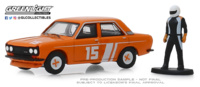 Datsun 510 4 puertas sedan con piloto de carreras (1970) Greenlight 1/64