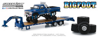 "Ford F250 Bigfoot nº 1 Monster Truck con trailer y juego de neumáticos de 66"" Greenlight 1/64"