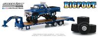 """Ford F250 Bigfoot nº 1 Monster Truck con trailer y juego de neumáticos de 66"""" Greenlight 1/64"""