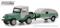 Jeep CJ-5 Techo rígido con caravana en forma lágrima (1972) Greenlight 1/64