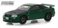 Nissan Skyline GT-R -R34 (2000) Greenlight 1/64 Verde Metalizado